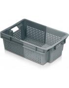 Cajas de plástico encajables.  Embalaje de plástico reutilizable.